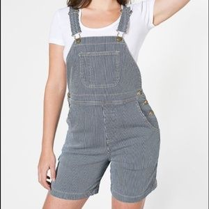 American Apparel Shortalls in Conductor Stripe
